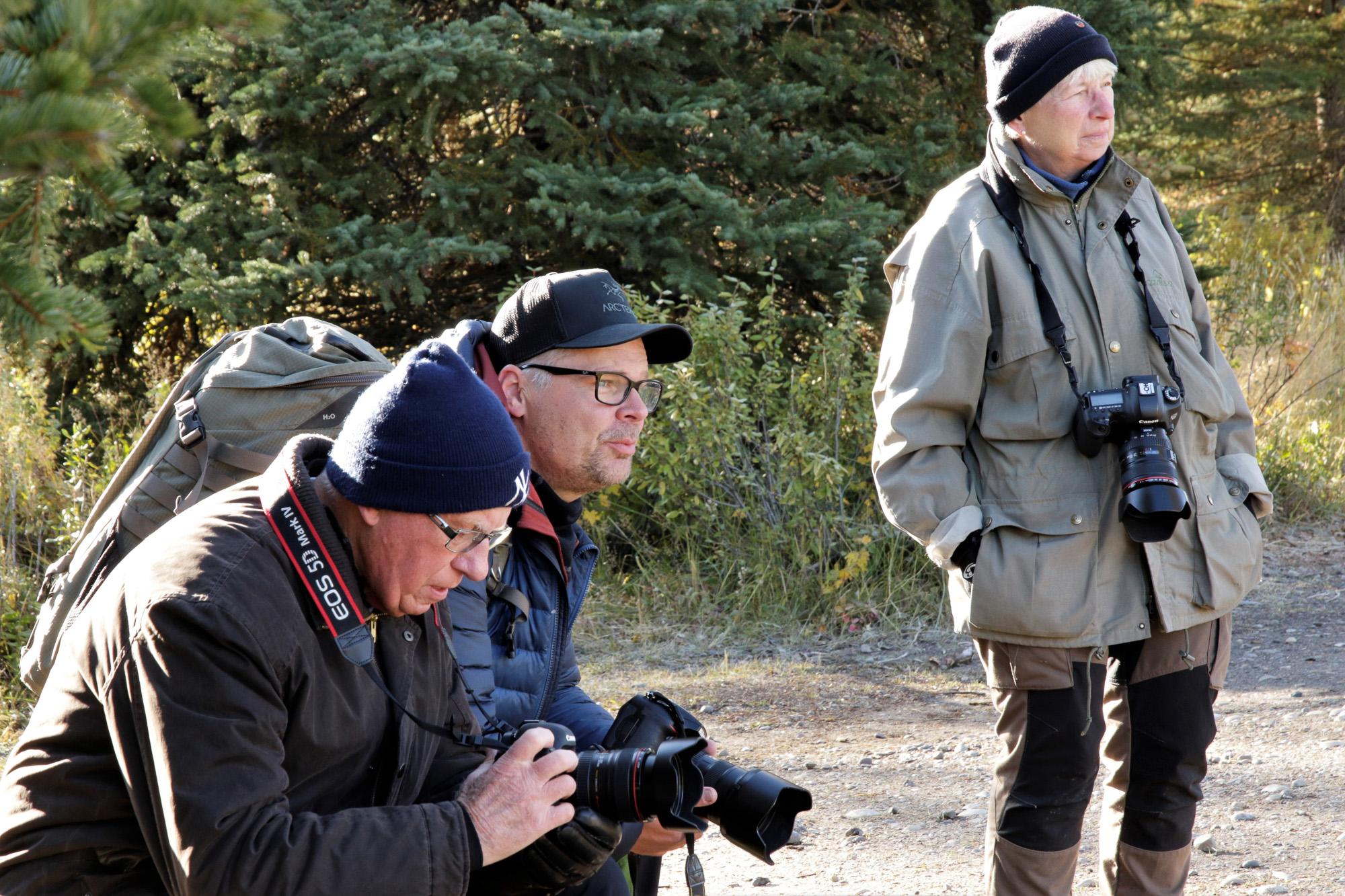 Spanar efter motiv i Yellowstone nationalpark. ©Sven Andersson.